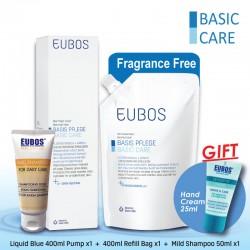 EUBOS Washing Emulsion Blue 400ml+400ml Refill and Mild Shampoo 50ml