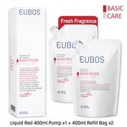 EUBOS WASHING EMULSION (RED) - 400ml Pump x1 + 400ml Refill Bag x2