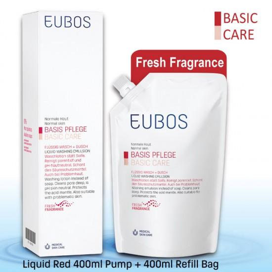 EUBOS LIQUID Red WASHING EMUL 400ML+400ML REFILL PACK