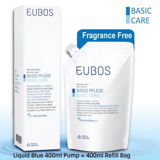 EUBOS LIQUID Blue WASHING EMUL 400ML+ 400ML REFILL PACK