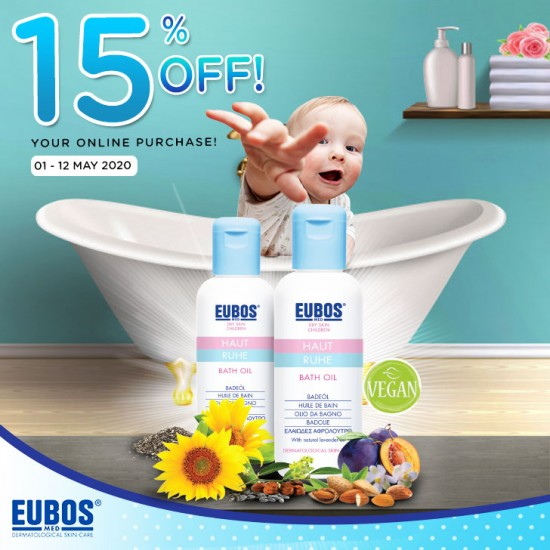 EUBOS Baby Bath Oil 125ml (Promo Pack 2 Bols)