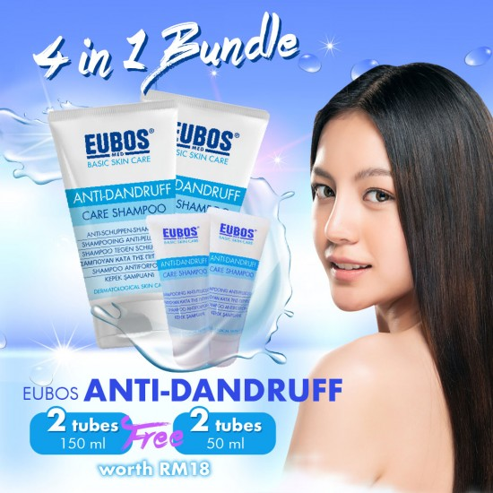 EUBOS Anti-Dandruff  150ml + 50ml  (Promo Pack 4 in 1 bundle)