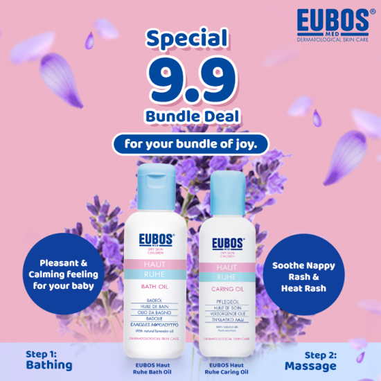 EUBOS Baby Bath Oil 125ml + Caring Oil 100ml (Body Massage Oil) 2 in 1 Bundle