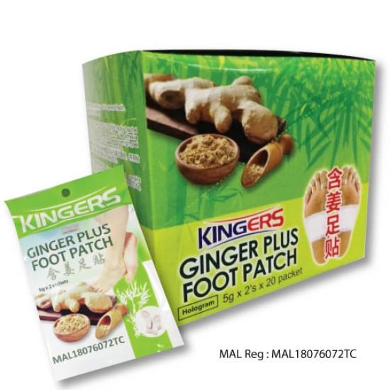 Kingers Ginger Plus Detox Foot Patch ( 40 Pads - 20 Pouches  / Box )