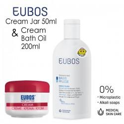 EUBOS CREAM BATH OIL 200ml + FACIAL CREAM JAR 50ml