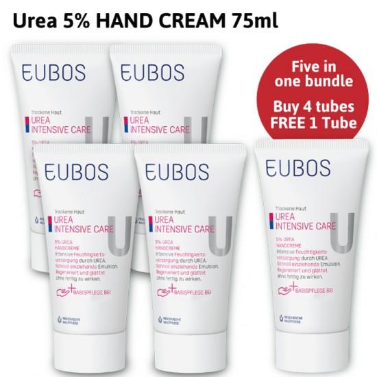 PROMOTION EUBOS UREA HAND CREAM 75ML_BUY 4 FREE 1