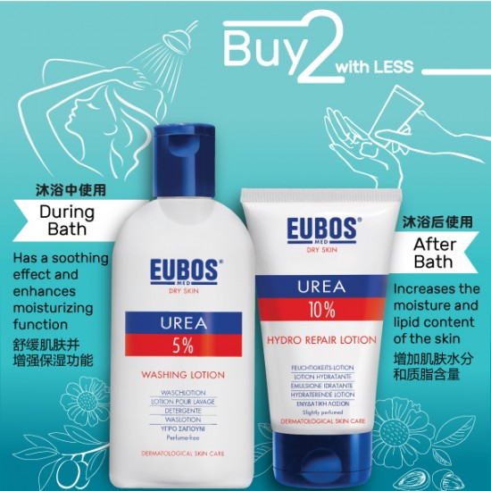 EUBOS UREA BODY WASH 200ml + UREA HYDRO REPAIR LOTION 200ML (2 IN 1 Bundle)