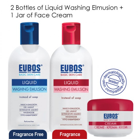 EUBOS Liquid Washing Emulsion 200ml x2 & Face Cream 50ml x1