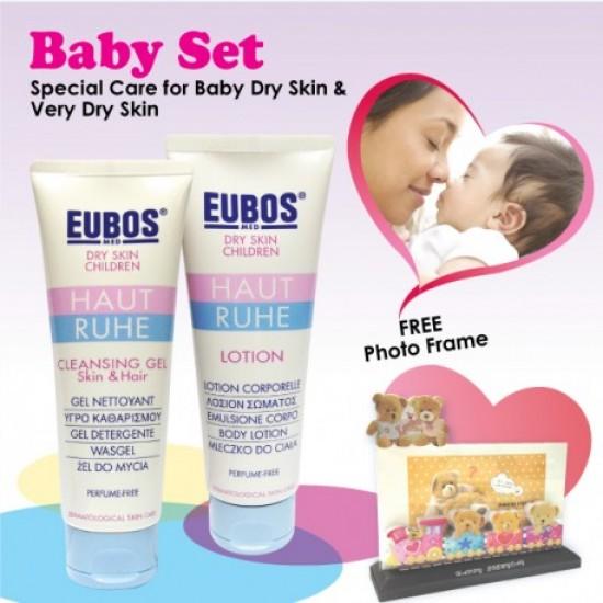 EUBOS HAUT RUHE CLEANSING GEL SKIN & HAIR & LOTION Gift Set