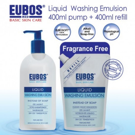 EUBOS LIQUID Blue WASHING EMUL 400ML+ 400ML REFILL PACK get RM10 Coupon