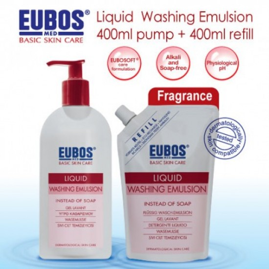 EUBOS LIQUID Red WASHING EMUL 400ML+400ML REFILL PACK get RM10 Coupon