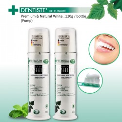 Dentiste' Premium and Natural White Toothpaste with pump dispenser  _120g  (x2 bottles)